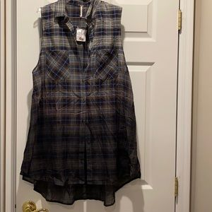 NWT Free People sleeveless plaid blouse sz l